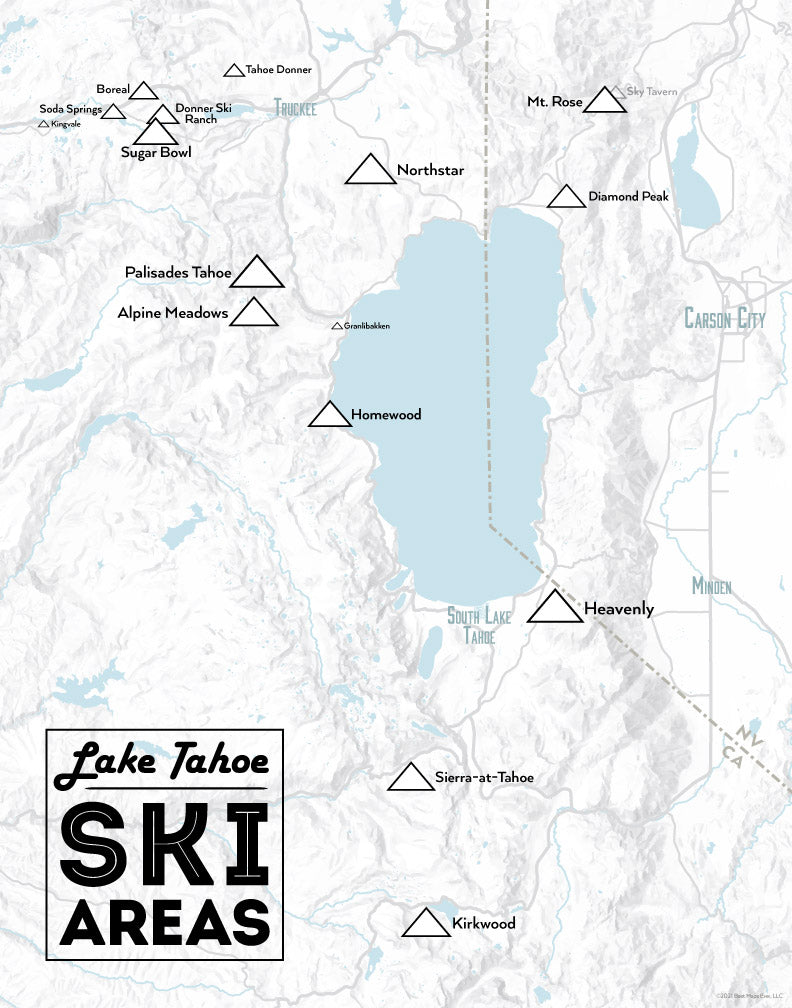 Lake Tahoe Ski Resorts map print - gray & black