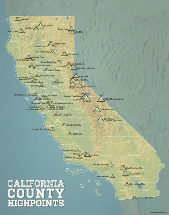 California County High Points map print - natural earth