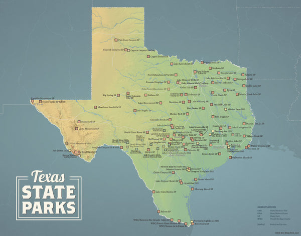Texas State Parks Map 11x14 Print