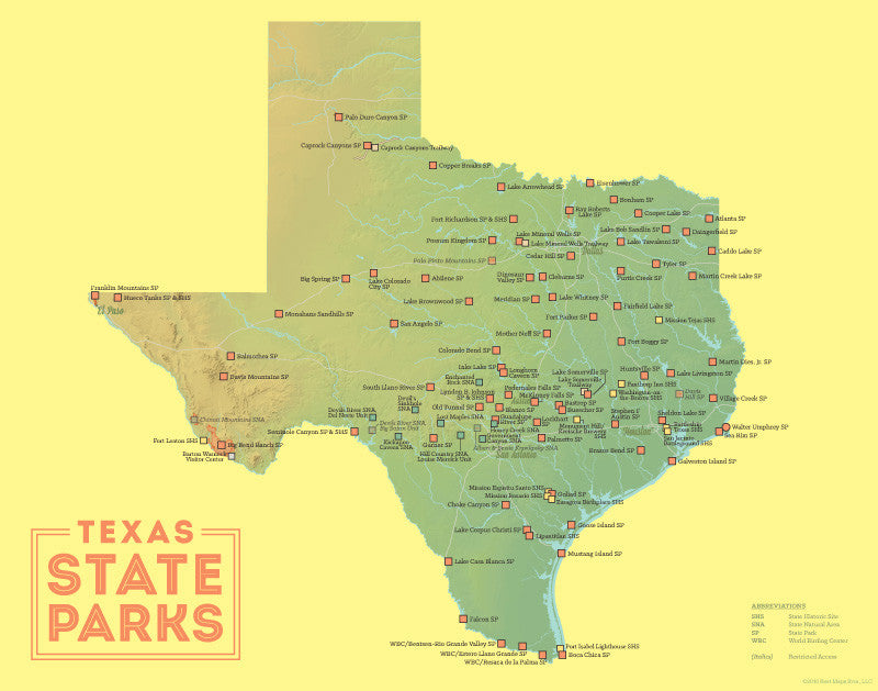 Texas State Parks Map 11x14 Print   Best Maps Ever