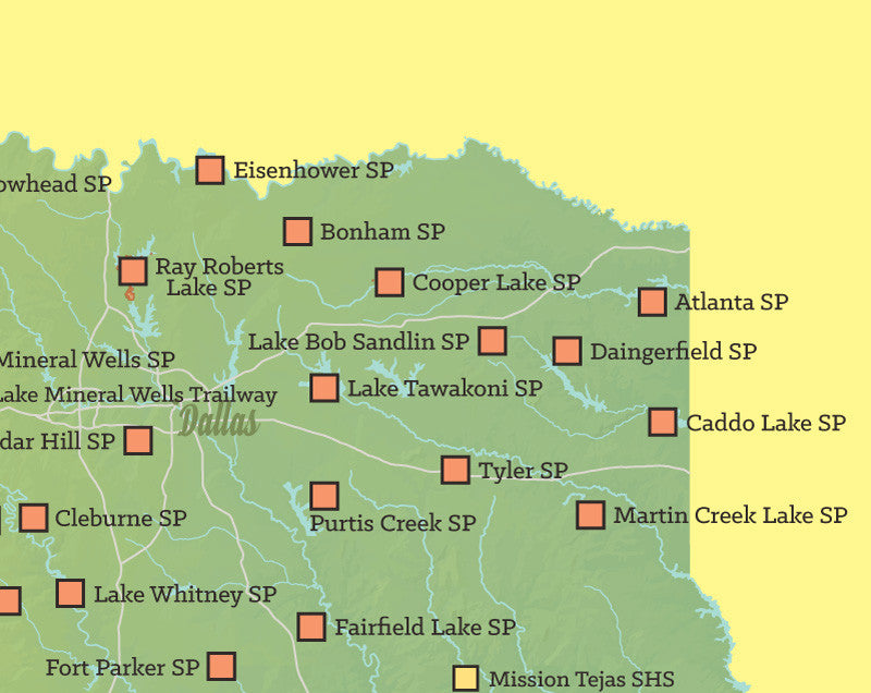 Texas state parks map 11x14 print best maps ever texas state parks map print green yellow publicscrutiny Images