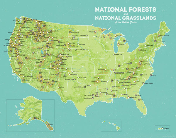 National Forest Map US National Forests Map 11x14 Print   Best Maps Ever