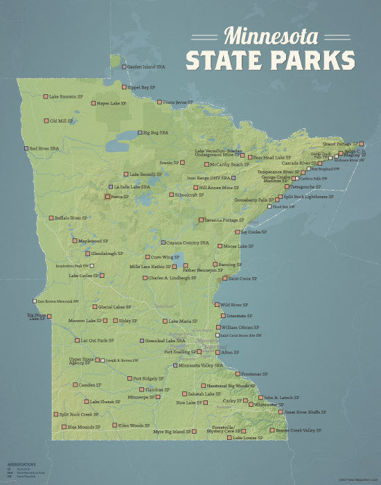 Minnesota State Parks map print - natural earth