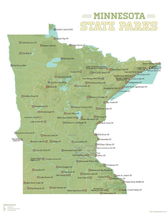 Minnesota State Parks map print - green & white