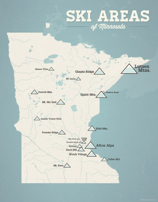 image regarding Printable Maps of Minnesota titled Minnesota Ski Accommodations Map 11x14 Print