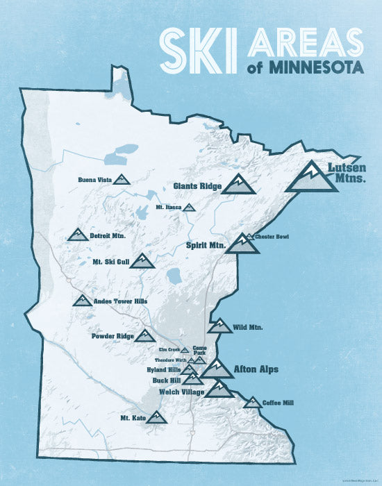 skiing in minnesota map Minnesota Ski Resorts Map 11x14 Print Best Maps Ever