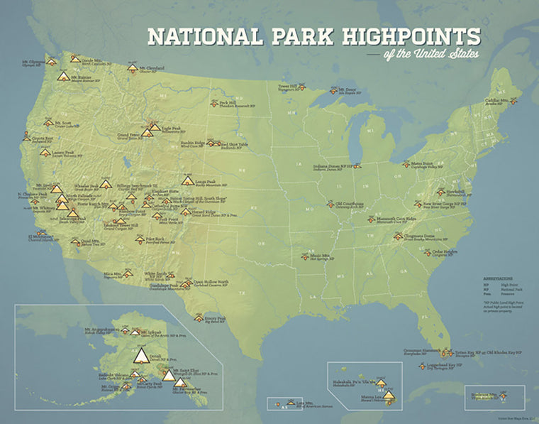USA National Park High Points Map Print - natural earth