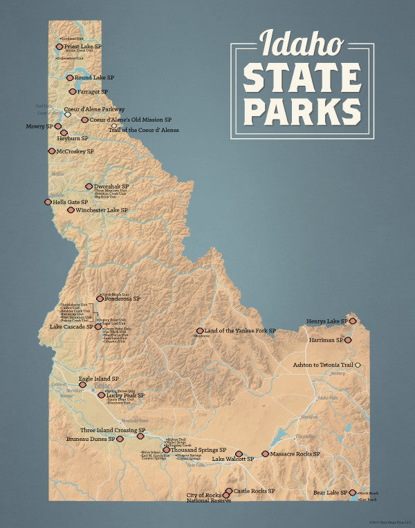 Idaho State Parks Map 11x14 Print - Best Maps Ever