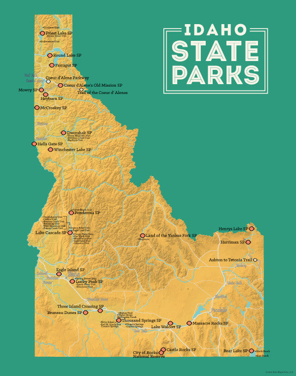 Idaho State Parks Map Print - yellow-orange & teal