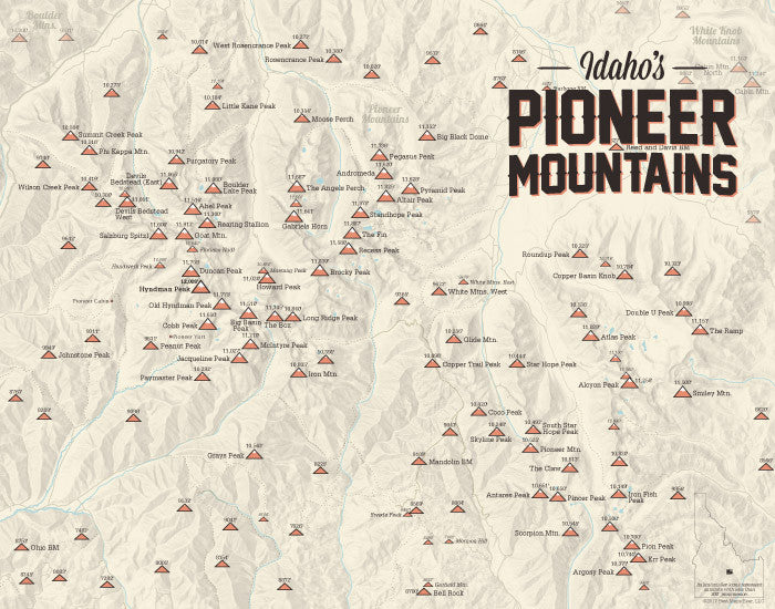 Pioneer Mountains (Idaho) Peak List Climbers Map Print - tan