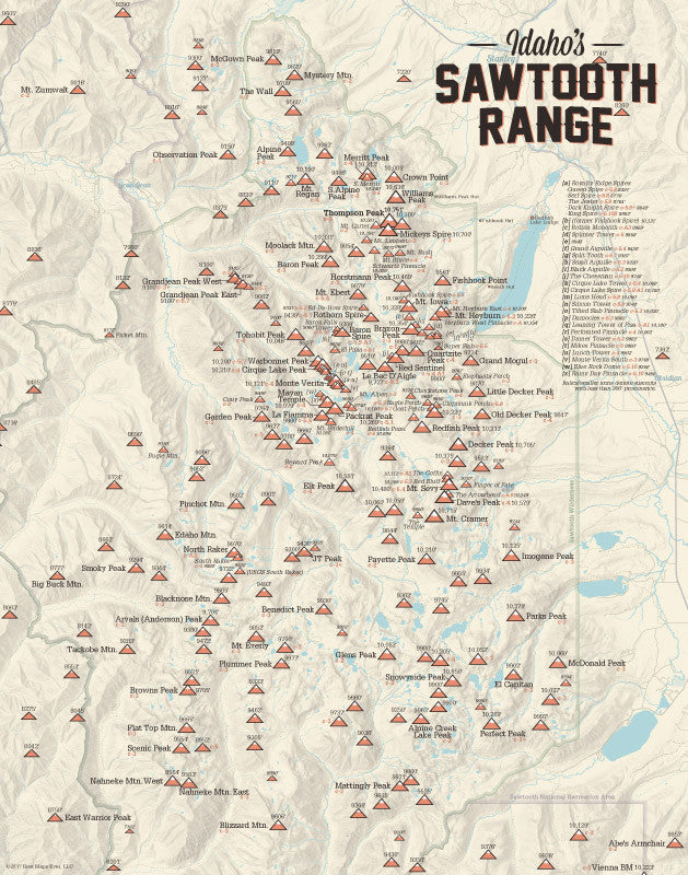Sawtooth Mountains (Idaho) Peak List Climbers Map Print - tan