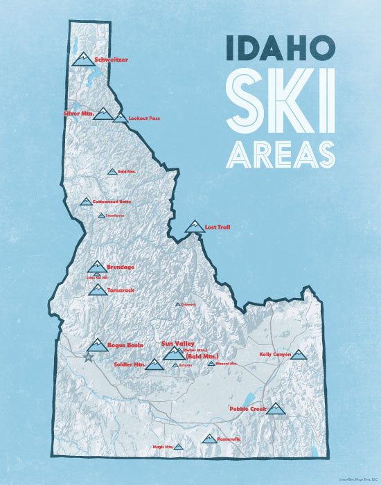 Idaho Ski Resorts Map Print - white & light blue