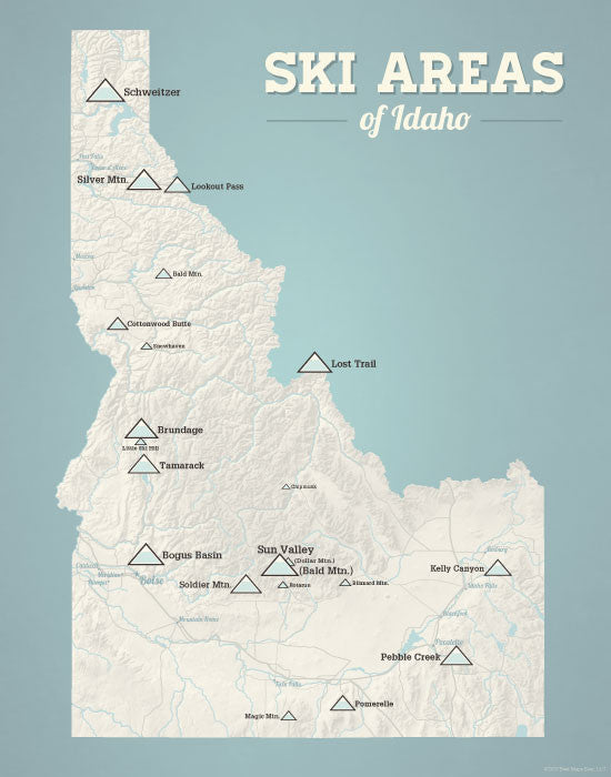 Idaho Ski Areas Map Print - beige & opal blue