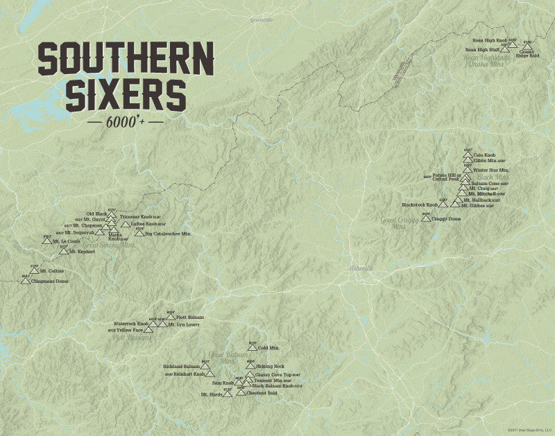 North Carolina 'Southern Sixers' / 'South Beyond 6000' Map Print - sage