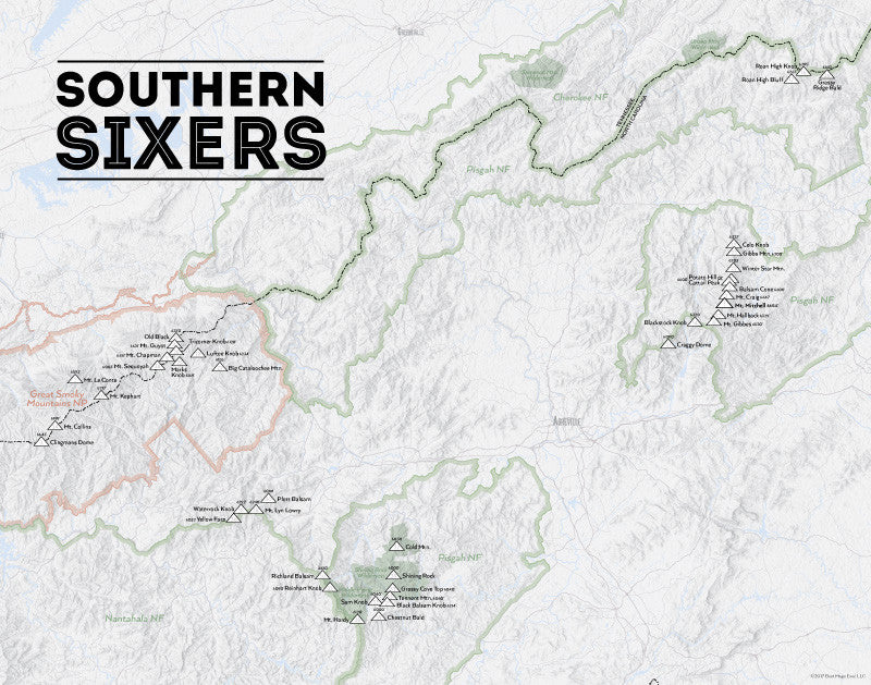 North Carolina 'Southern Sixers' / 'South Beyond 6000' Map Print - gray