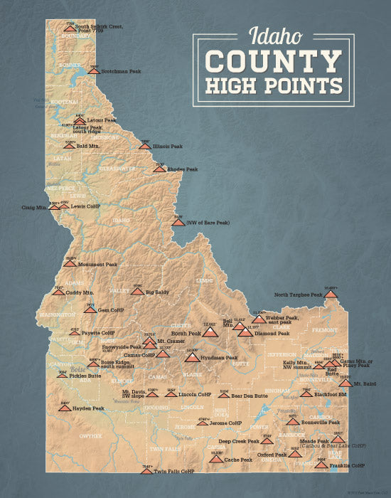 Idaho County High Points map print - camel & slate blue
