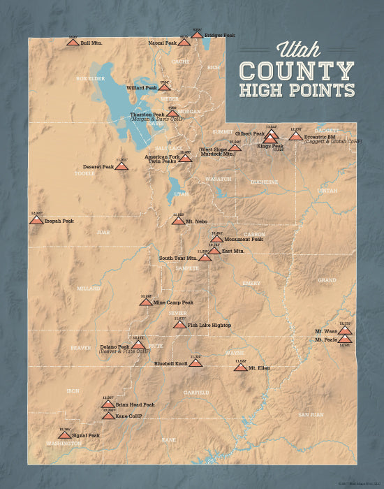 Utah County High Points map print - camel & slate blue