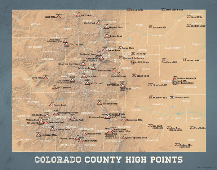 Colorado County High Points Map Print - camel & slate blue