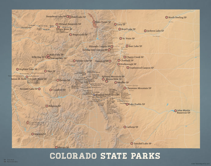 Colorado State Parks map print - camel & slate blue