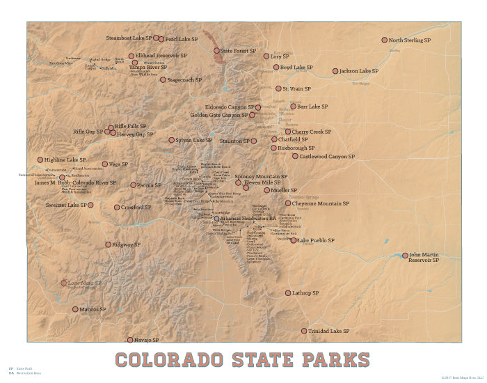 Colorado State Parks map print - camel & white