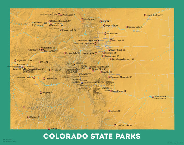 Colorado State Parks map print - yellow-orange & teal