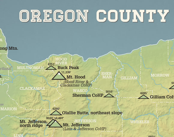 Oregon County Highpoints Map Print - natural earth