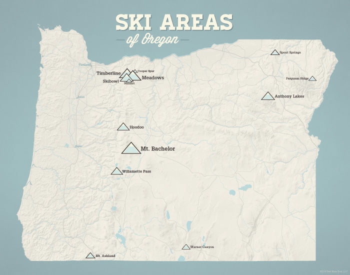 Oregon Ski Resorts Map Print - beige & opal blue