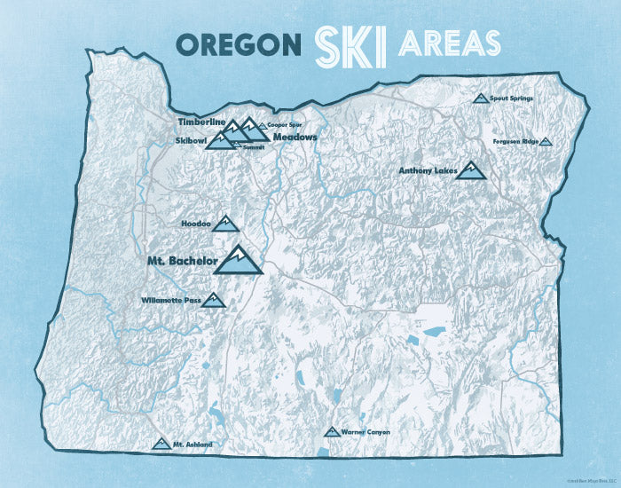 Oregon Ski Resorts Map 11x14 Print   Best Maps Ever