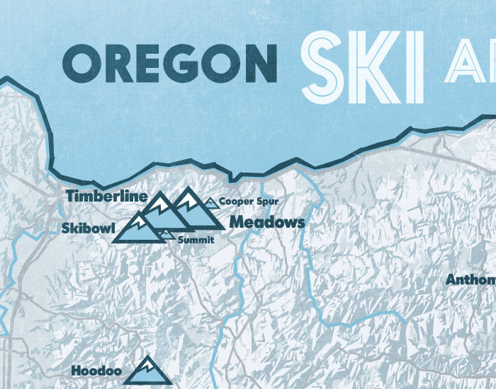 Oregon Ski Areas Map Print - white & light blue