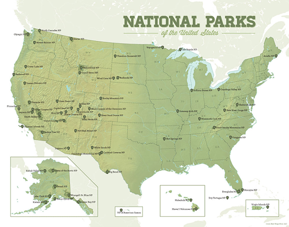 US National Parks Map Print - army & white