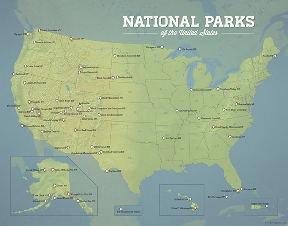 National Parks Map Of Usa.Us National Parks Map 11x14 Print Best Maps Ever