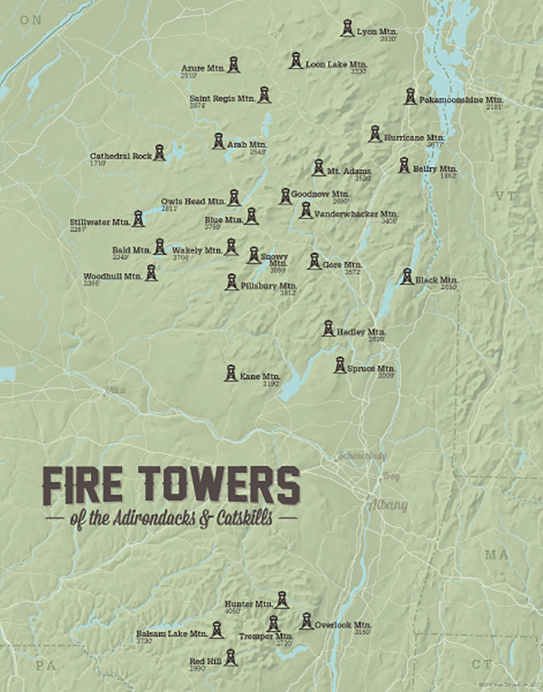 New York Adirondack Catskill ADK Fire Tower Challenge map print - sage