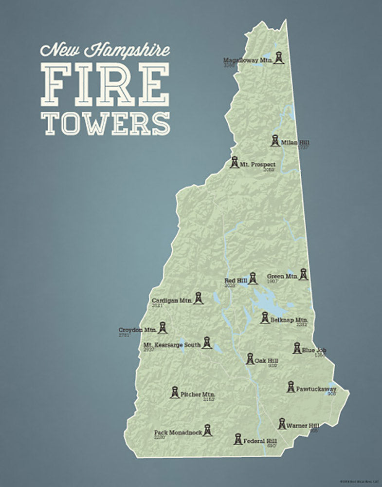 New Hampshire Fire Towers Lookouts map print - sage & slate blue