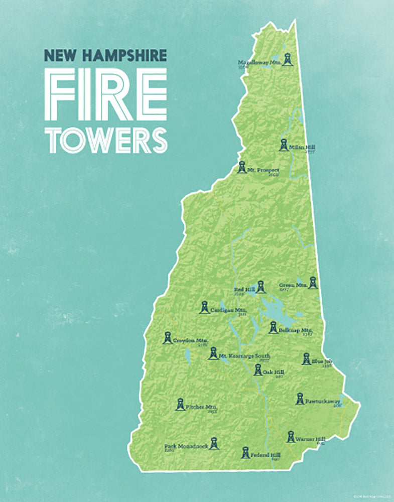 New Hampshire Fire Towers Lookouts map print - green & aqua