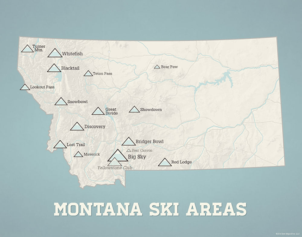 Montana Ski Areas Resorts map print - beige & opal blue