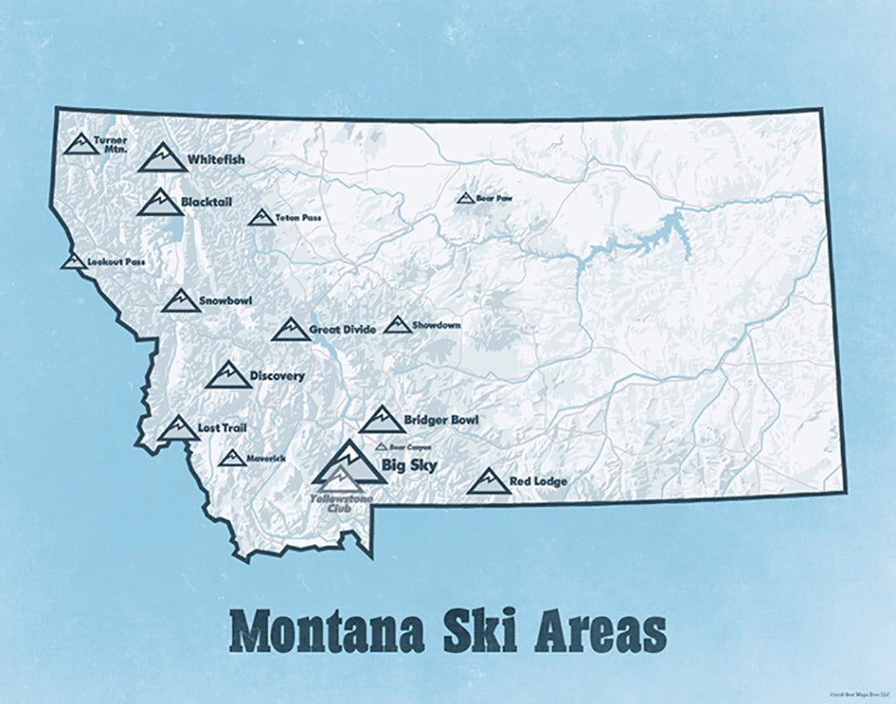 Montana Ski Areas Resorts map print - white & light blue