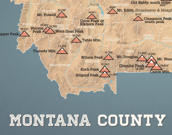 Montana County High Points Highpoints map print - camel & slate blue