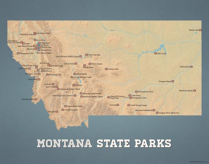 Montana State Parks Map 11x14 Print