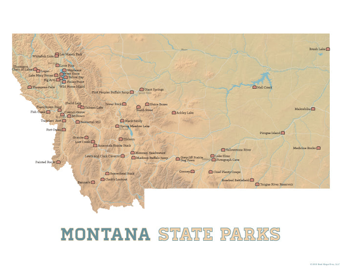 Montana State Parks Map Print - camel & white