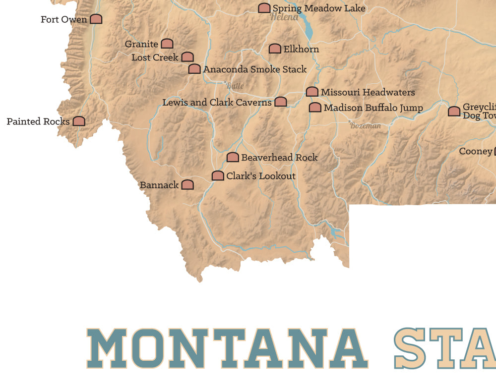 Montana State Parks Map 11x14 Print - Best Maps Ever