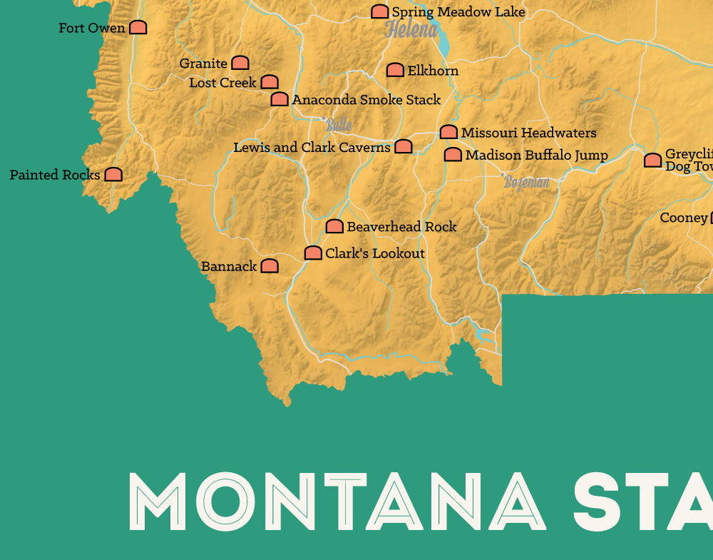 Montana State Parks Map Print - yellow-orange & teal