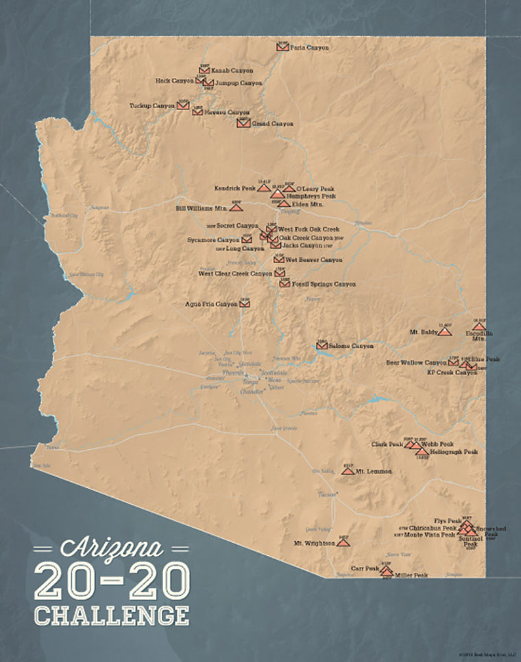 Arizona 20-20 Challenge map print - camel & slate blue