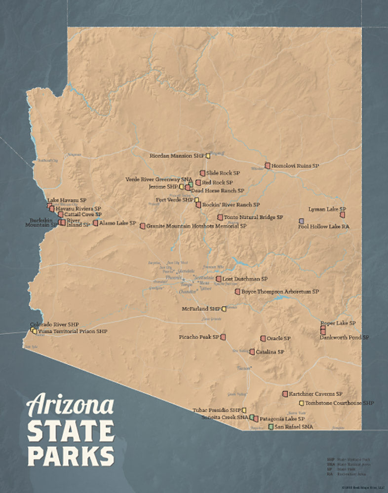 Arizona State Parks map print - camel & slate blue
