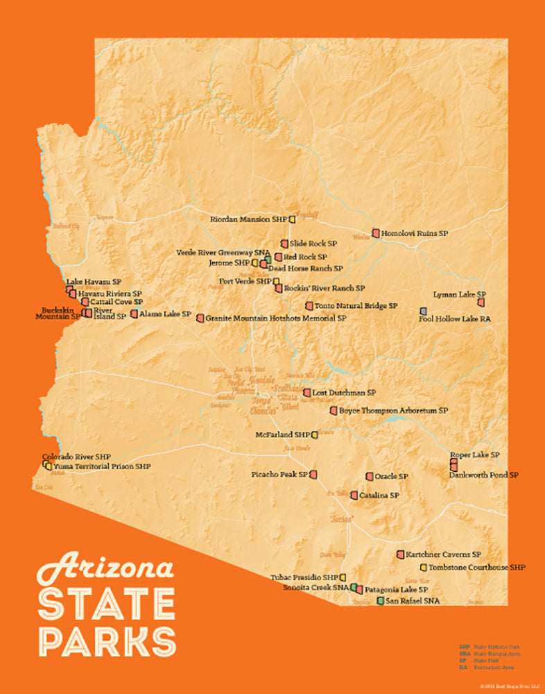 Arizona State Parks map print - cream & orange