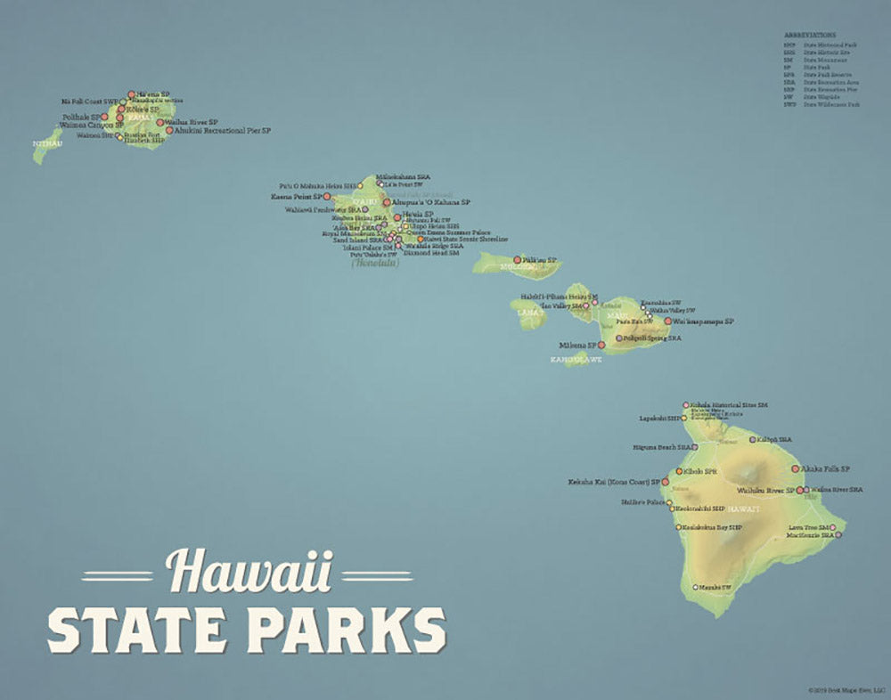 Hawaii State Parks Map Print - natural earth