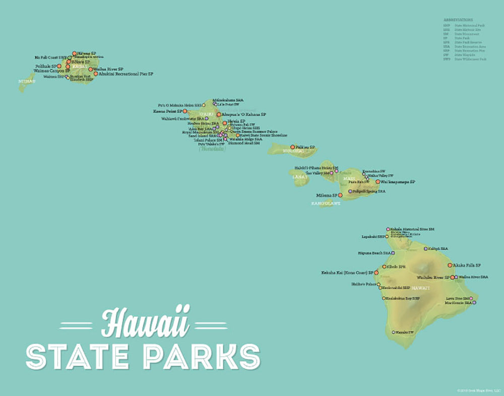 Hawaii State Parks Map Print - green & aqua