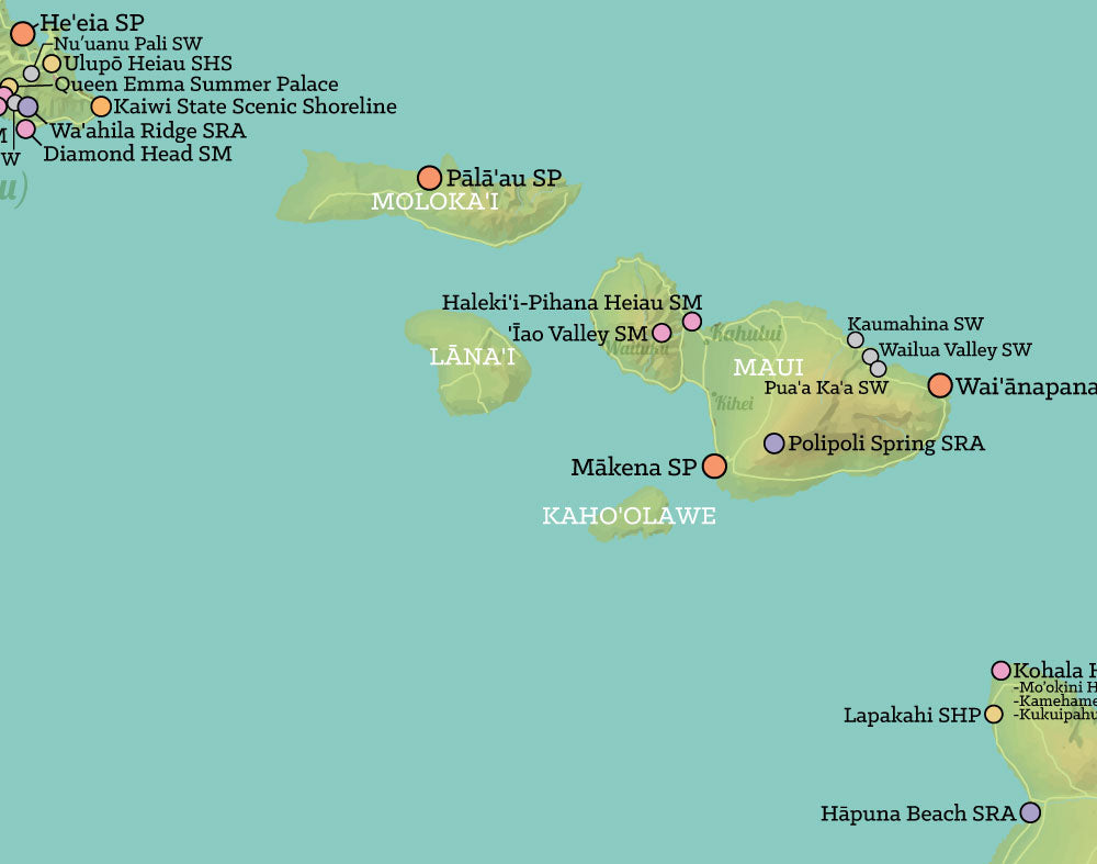 picture about Maui Map Printable called Hawaii Place Parks Map 11x14 Print