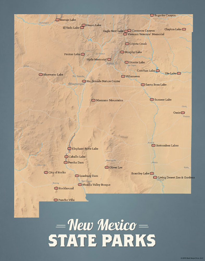 New Mexico State Parks Map 11x14 Print - camel & slate blue