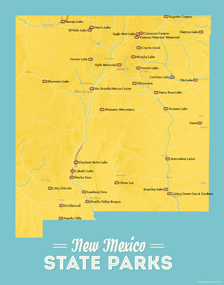 New Mexico State Parks Map 11x14 Print