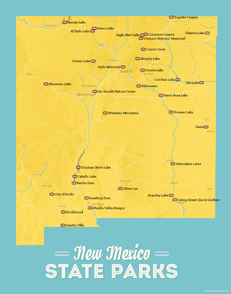 New Mexico State Parks Map 11x14 Print - marigold & turquoise